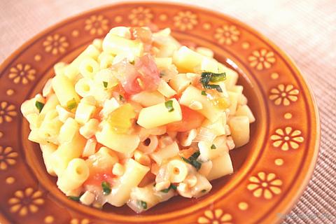 ほうれん草とトマト入り納豆パスタ