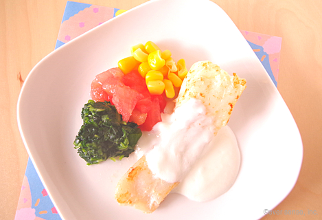 ヨーグルト風味の白身魚のソテー