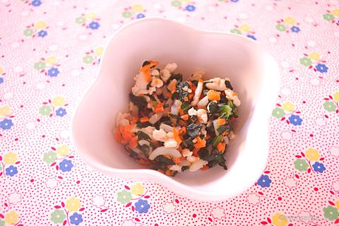 小松菜のひき肉炒め